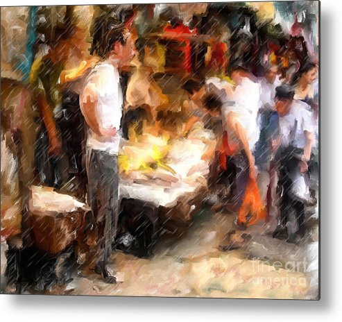 Chinatown Metal Print featuring the mixed media Chinatown Rain by Marilyn Sholin