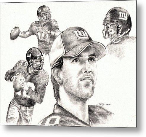Eli Manning Metal Print featuring the drawing Eli Manning by Kathleen Kelly Thompson