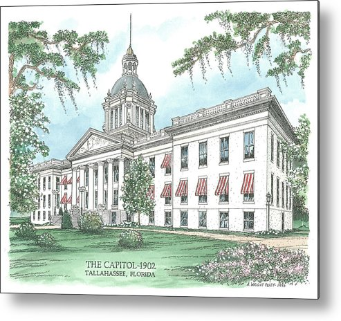 Florida Metal Print featuring the drawing Florida Capitol 1902 by Audrey Peaty