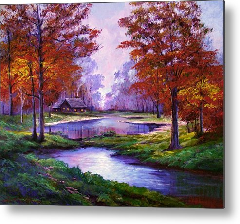 Autumn Metal Print featuring the painting Lakeside Cabin by David Lloyd Glover