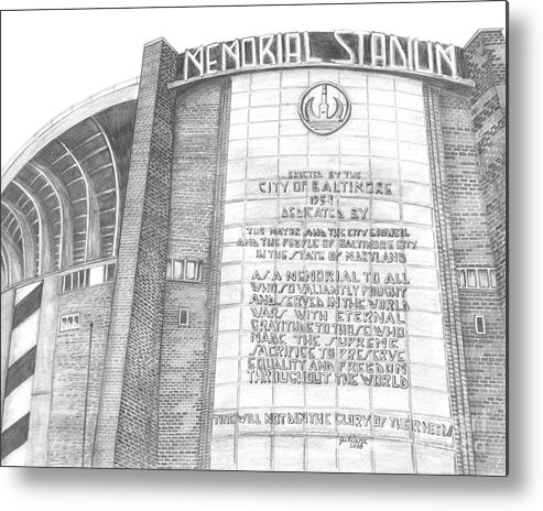 Baltimore Orieols Stadium Metal Print featuring the drawing Memorial Stadium by Juliana Dube