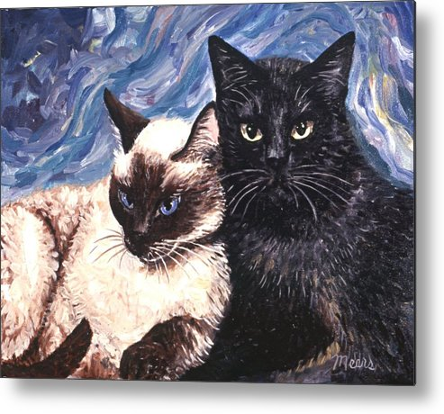 Cats Metal Print featuring the painting Peaceful Coexistence by Linda Mears