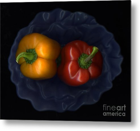 Slanec Metal Print featuring the photograph Peppers And Blue Bowl by Christian Slanec
