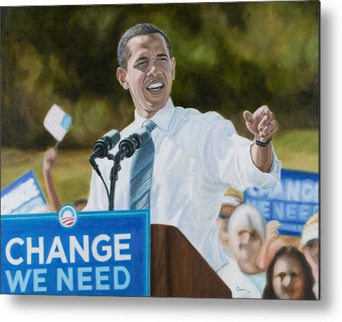 Obama Metal Print featuring the painting Portrait Of Barack Obama The Change We Need by Christopher Oakley