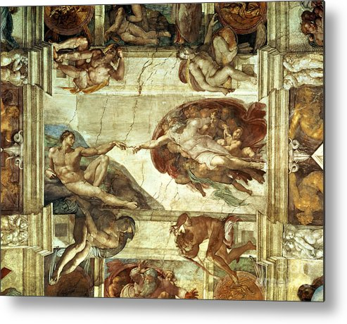 The Creation Of Adam Metal Print featuring the painting The Creation Of Adam by Michelangelo
