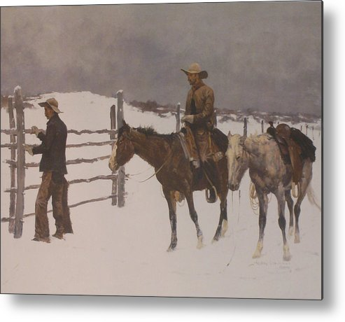 Frederic Remington Metal Print featuring the digital art The Fall Of The Cowboy by Frederic Remington