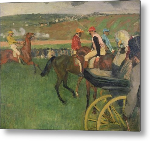 The Race Course - Amateur Jockeys Near A Carriage Metal Print featuring the painting The Race Course by Edgar Degas