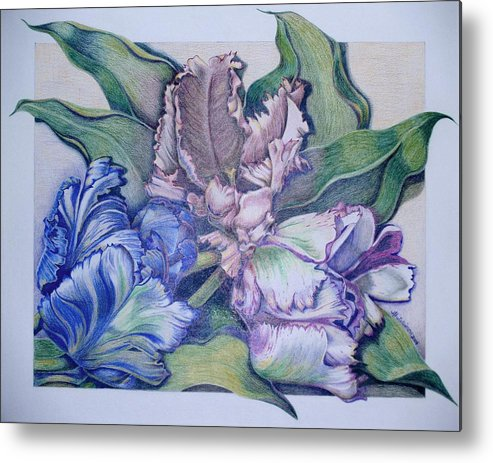 Prismacolor Metal Print featuring the painting Trilogy by Joyce Hutchinson