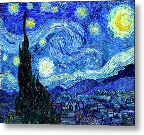Van Gogh Metal Print featuring the painting Van Gogh Starry Night by Vincent Van Gogh