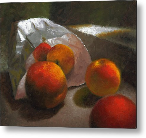 Peaches Metal Print featuring the painting Vanzant Peaches by Timothy Jones