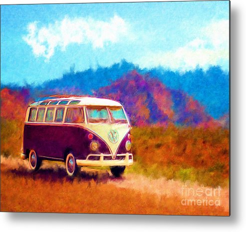 Automobile Metal Print featuring the digital art Vw Van Classic by Marilyn Sholin