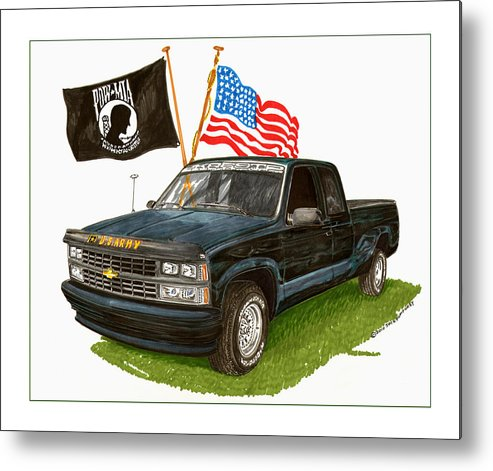 1988 Chevrolet Silverado Missing In Action Tribute Metal Print featuring the painting 1988 Chevrolet M I A Tribute by Jack Pumphrey