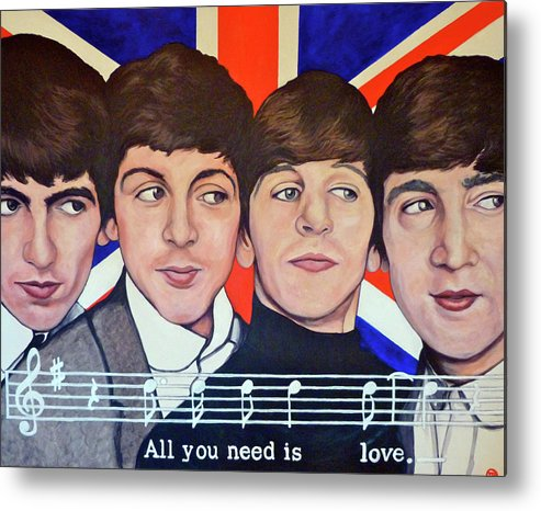The Beatles Metal Print featuring the painting All You Need Is Love by Tom Roderick