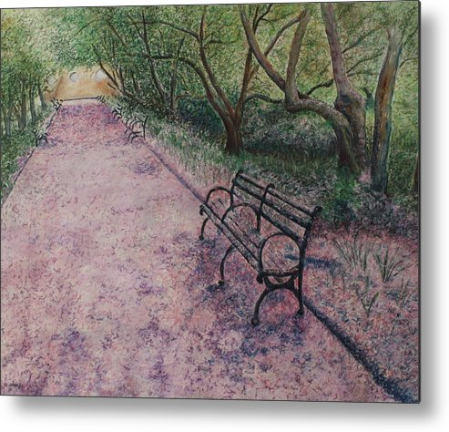 Cherry Blossoms Metal Print featuring the painting Cherry Blossom Pathway by Patsy Sharpe