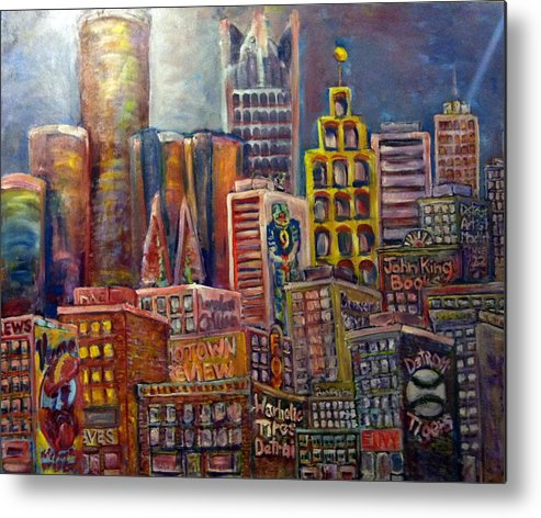 Metal Print featuring the painting Cityscape 9 by Don Thibodeaux