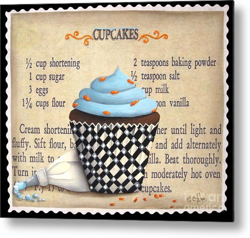 Folk Art Metal Print featuring the painting Cupcake Masterpiece by Catherine Holman