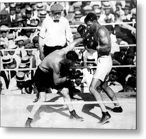 1920s Metal Print featuring the photograph Jack Dempsey Fights Tommy Gibbons by Everett