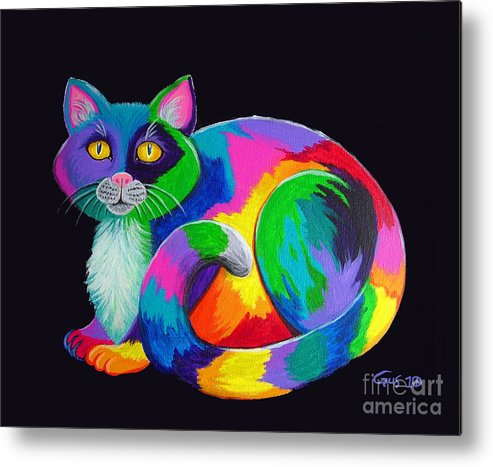 Art Metal Print featuring the painting Rainbow Calico by Nick Gustafson