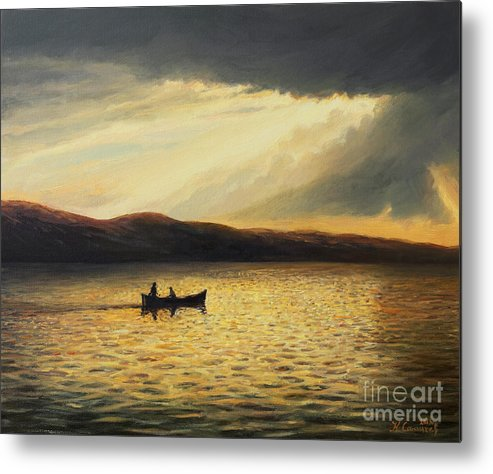 Nature Metal Print featuring the painting The Bay Of Silence by Kiril Stanchev