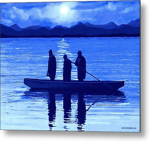 Fishing Metal Print featuring the painting The Night Fishermen by SophiaArt Gallery