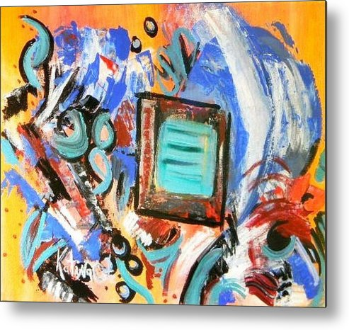 Modern Art Metal Print featuring the painting Pizazz by Katina Cote