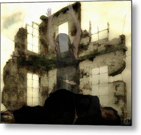 Digital Art Metal Print featuring the digital art Abandoned House by Gun Legler