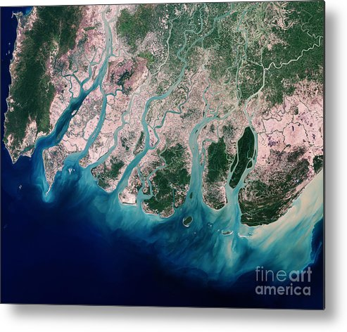 Satellite Metal Print featuring the photograph Irrawaddy River Delta by Nasa