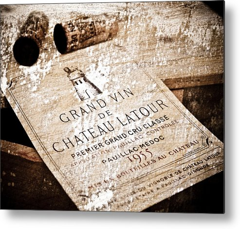 Frank Tschakert Metal Print featuring the mixed media Great Wines Of Bordeaux - Chateau Latour 1955 by Frank Tschakert
