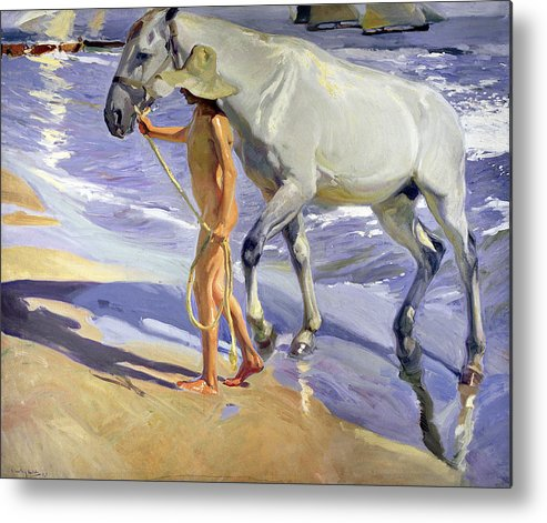 Washing The Horse Metal Print by Joaquin Sorolla y Bastida