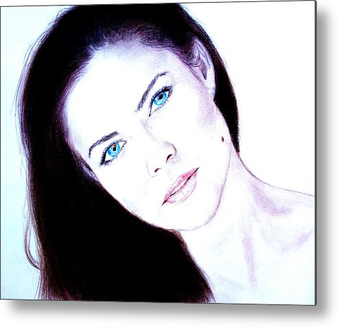 Model Metal Print featuring the drawing Susan Ward Blue Eyed Beauty With A Mole II by Jim Fitzpatrick
