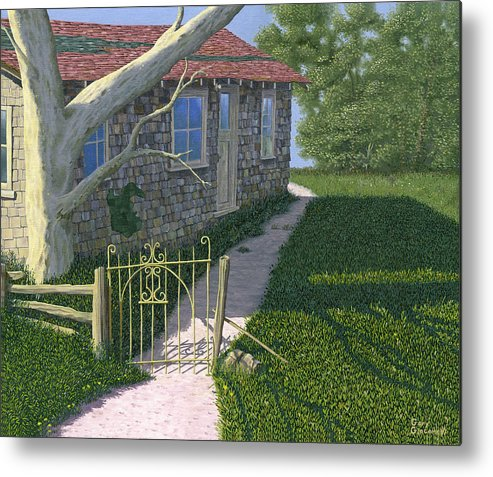Old Farm Metal Print featuring the painting The Iron Gate by Gary Giacomelli