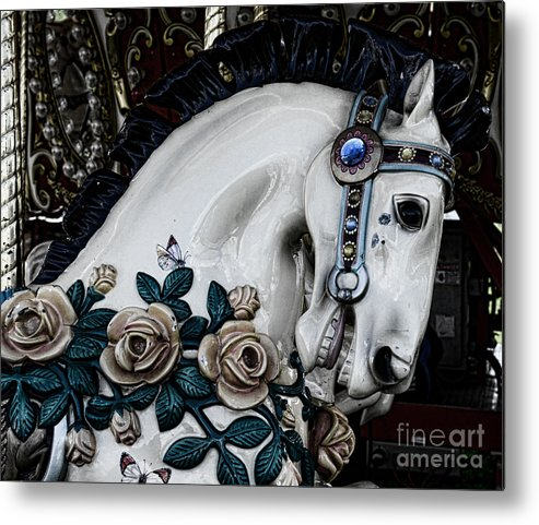 Dark Horse Metal Print featuring the photograph Carousel Horse - 8 by Paul Ward