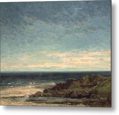 The Metal Print featuring the painting The Sea by Gustave Courbet