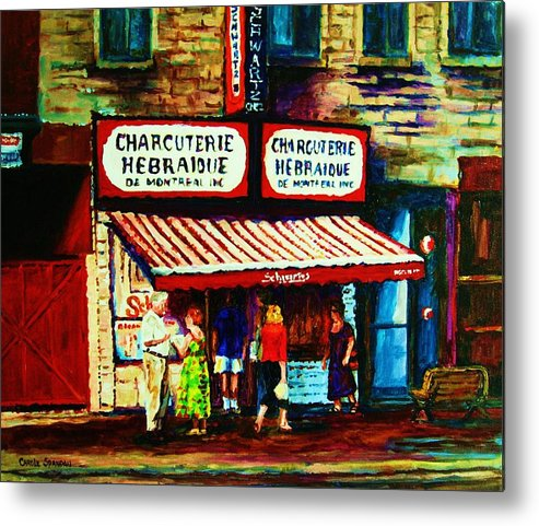 Schwartz Deli Metal Print featuring the painting Schwartzs Famous Smoked Meat by Carole Spandau