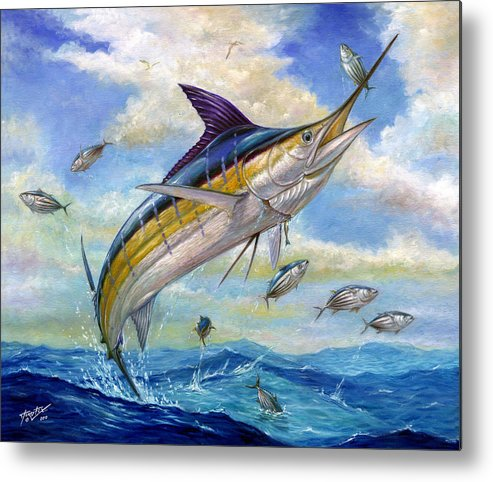 Blue Marlin Metal Print featuring the painting The Blue Marlin Leaping To Eat by Terry Fox