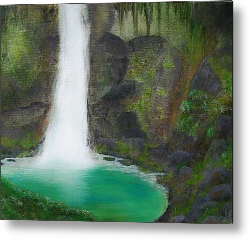 Waterfall Metal Print featuring the painting Juana Falls by Tony Rodriguez