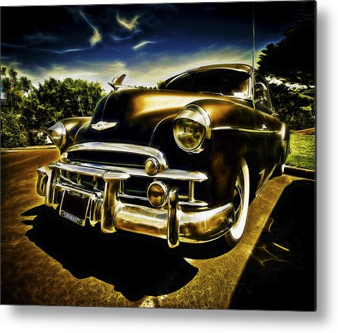 Custom Chevy Metal Print featuring the photograph 1949 Chevrolet Deluxe Coupe by motography aka Phil Clark