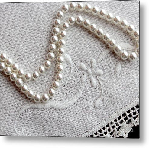 Pearls And Old Linen Metal Print featuring the photograph Pearls And Old Linen by Barbara Griffin