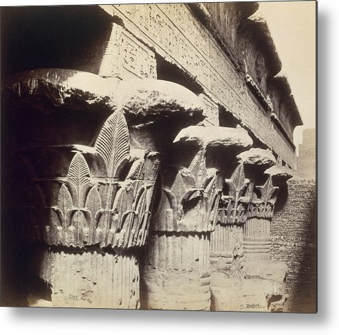 Column Metal Print featuring the photograph The Capitals Of The Portico Of The Temple Of Khnum In Esna by Francis Bedford