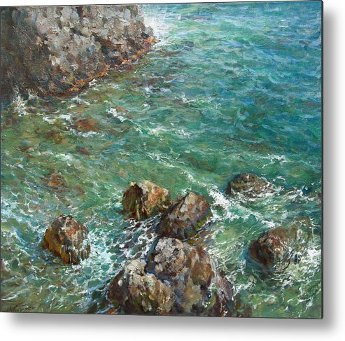 Landscape Metal Print featuring the painting The Surf by Korobkin Anatoly
