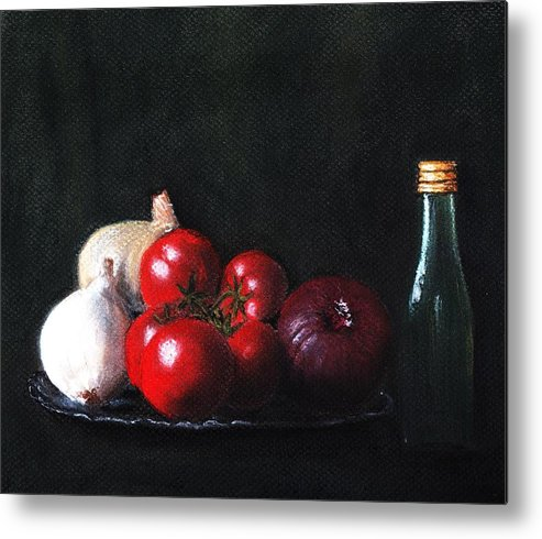 Dish Metal Print featuring the painting Tomatoes And Onions by Anastasiya Malakhova