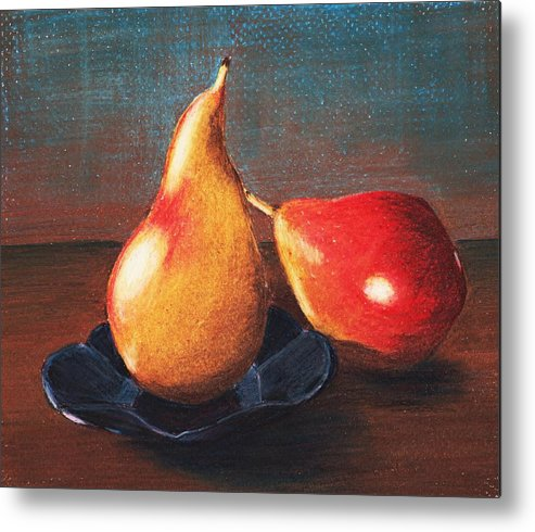 Interior Metal Print featuring the painting Two Pears by Anastasiya Malakhova