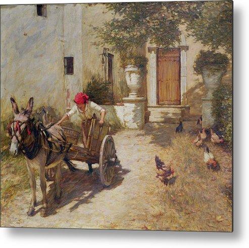 Farm Metal Print featuring the painting Farm Yard Scene by Henry Herbert La Thangue