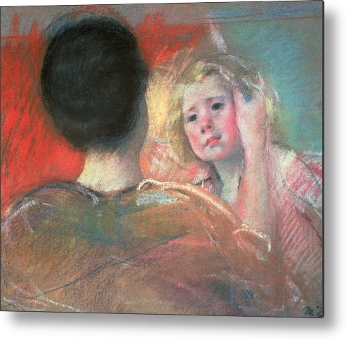 Mother Metal Print featuring the painting Mother Combing Sara's Hair by Mary Stevenson Cassatt