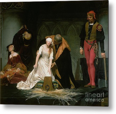 Execution Metal Print featuring the painting The Execution Of Lady Jane Grey by Hippolyte Delaroche