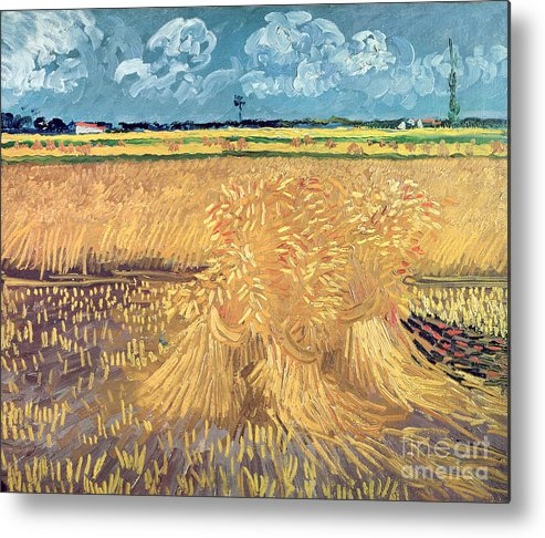 Wheatfield Metal Print featuring the painting Wheatfield With Sheaves by Vincent van Gogh