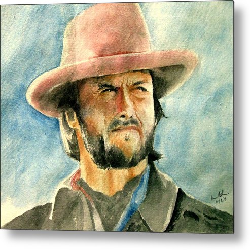 Clint Eastwood Metal Print featuring the painting Clint Eastwood by Nitesh Kumar