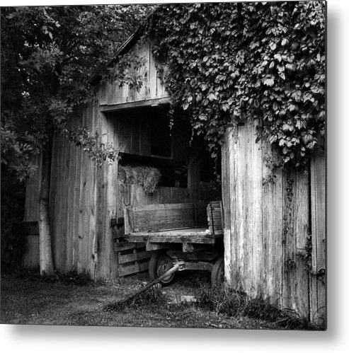 Black And White Photography Metal Print featuring the photograph Old Barn And Wagon by Julie Dant