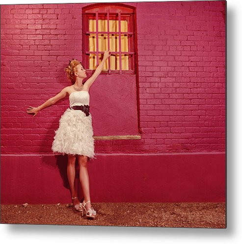 People Metal Print featuring the photograph Classy Diva Standing In Front Of Pink Brick Wall by Kriss Russell