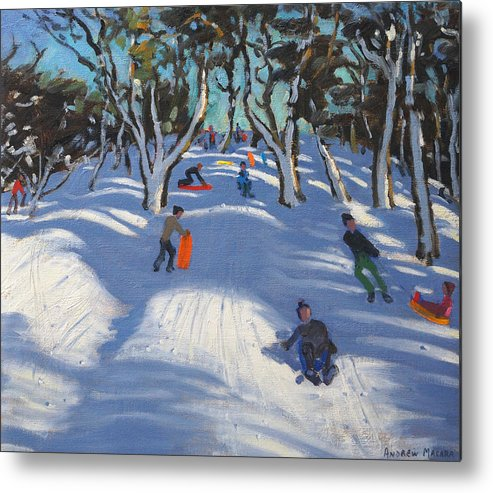 Winter Metal Print featuring the painting Sledging At Ladmanlow by Andrew Macara